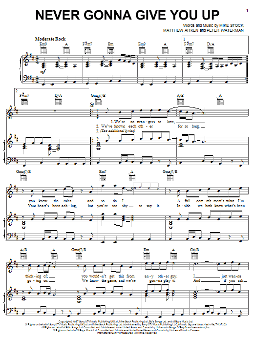 How to play never gonna give you up on piano